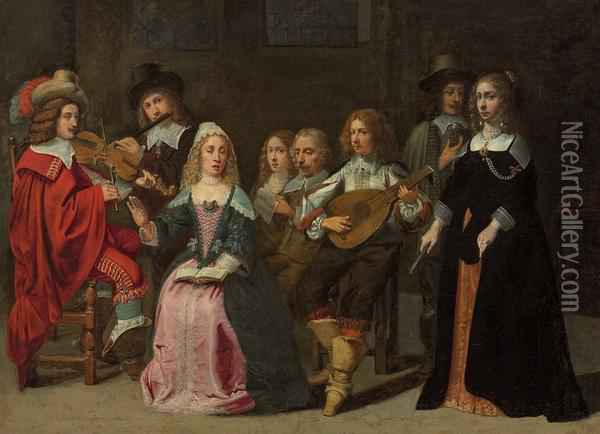 A Musical Concert Oil Painting - Mathieu Le Nain