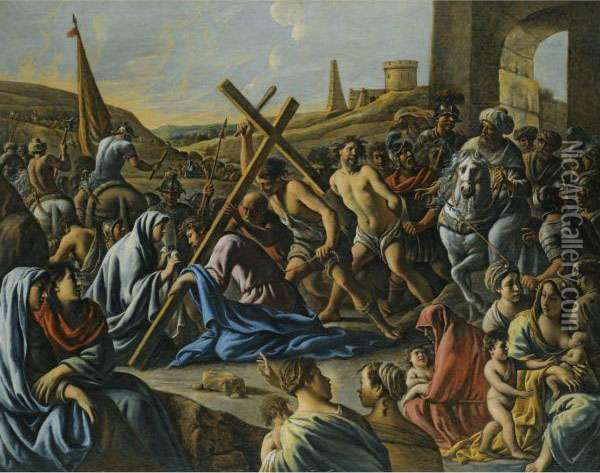 Christ Carrying The Cross Oil Painting - Mathieu Le Nain