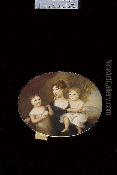 Mrs Pringle (nee Halkett), Wearing Black Dress With White Underslip And Pearl Necklace; With Her Daughters Mary And Charlotte Both Wearing White Dresses, Red Curtain And Landscape Background Oil Painting - James Leakey
