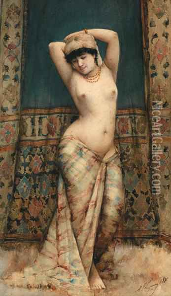 Odalisque Debout Oil Painting - Adolphe Frederic Lejeune
