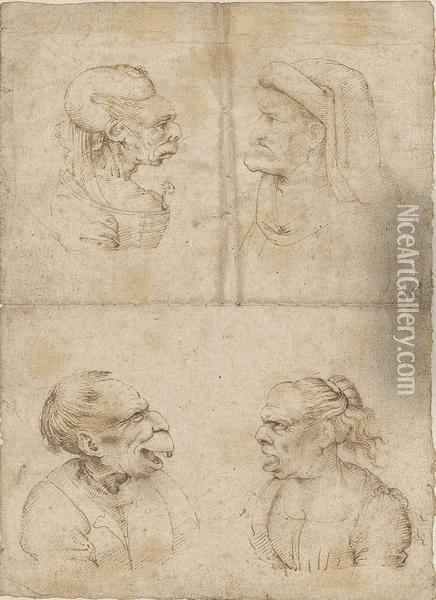 Caricatures Of An Old Woman, Wearing A Carnation As A Corsage Oil Painting - Leonardo Da Vinci