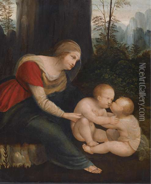 The Madonna Looking Over The Christ Child And The Infant Saint John The Baptist Oil Painting - Leonardo Da Vinci