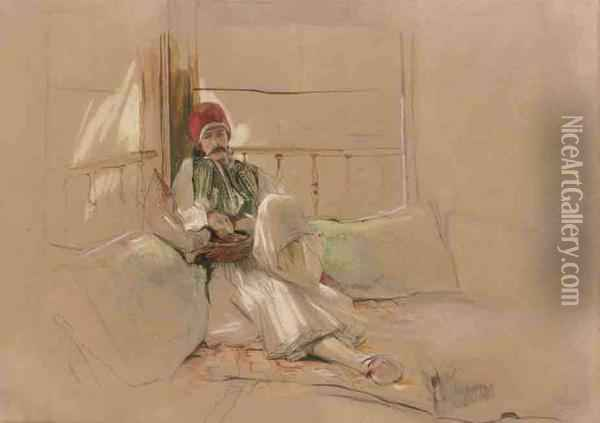 A Corfiote Warrior Reclining Among Cushions Oil Painting - John Frederick Lewis