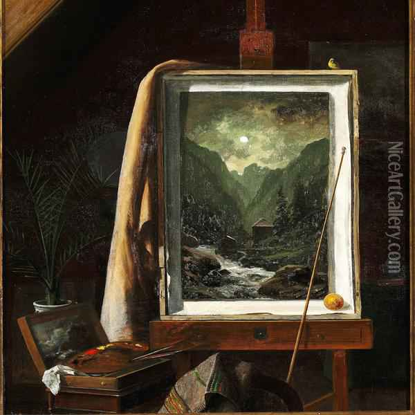 From The Artist's Studio, On The Easel One Of Libert's Paintings With A Motif From Norway Oil Painting - Georg Emil Libert