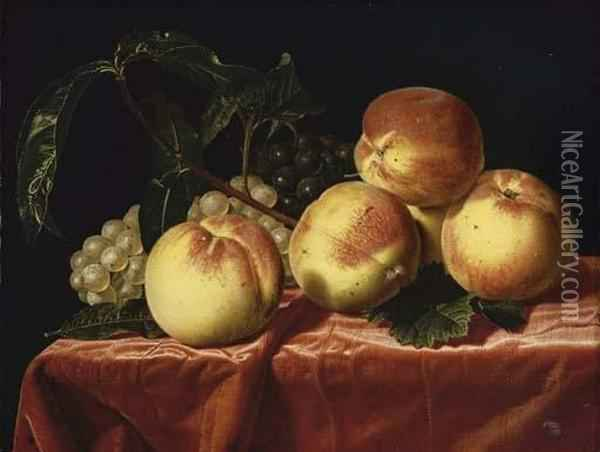 Peaches And Grapes On A Draped Table Oil Painting - Paul Liegeois