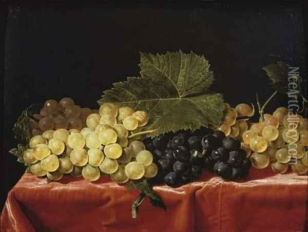 Red And White Grapes On A Draped Table Oil Painting - Paul Liegeois