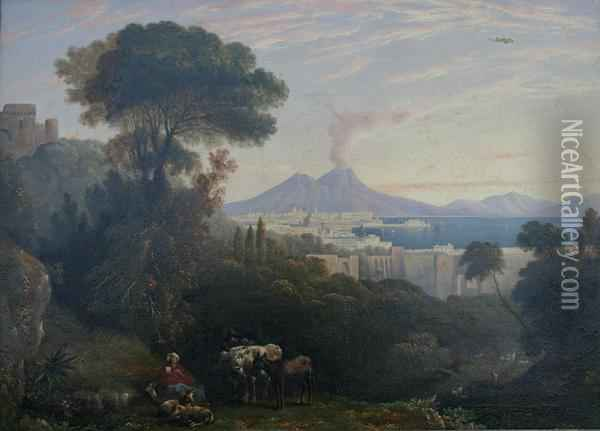 A View Of The Bay Of Naples With Vesuvius Beyond Oil Painting - William Linton