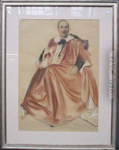 Portrait Of Lord Duveen Renowned Early 20th C. Art Dealer Oil Painting - Walter Little