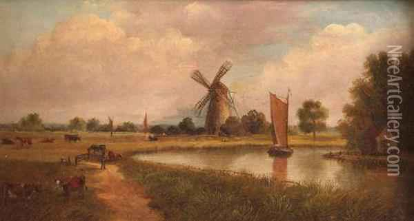 A Norfolk River Scene With Wherry And Windmill Oil Painting - Edward Littlewood