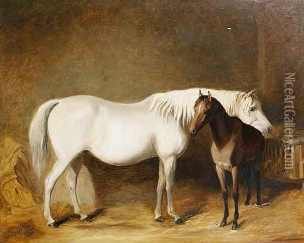 Horse And Foal In A Stable Oil Painting - James Loder Of Bath