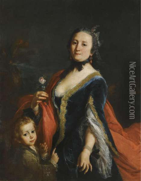 Portrait Of A Lady, Three-quarter Length Standing, Holding A Rose And A Boy Holding An Apple Beside Her Oil Painting - Alessandro Longhi
