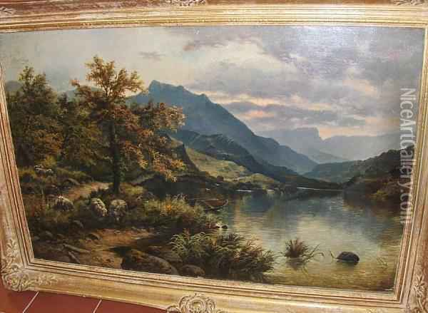 Sheep By A Lake In A Mountainous Landscape; Autumnal Landscape Oil Painting - Edgar Longstaffe
