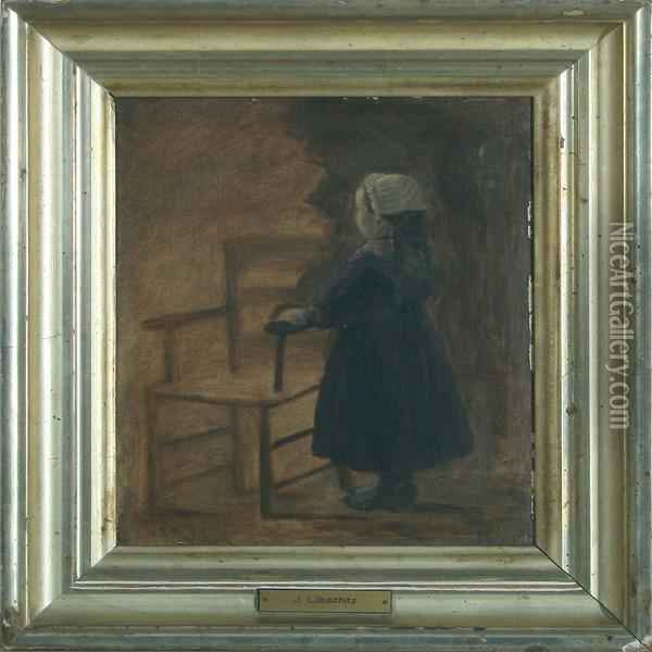 Girl By A Chair Oil Painting - John L. Lubschitz