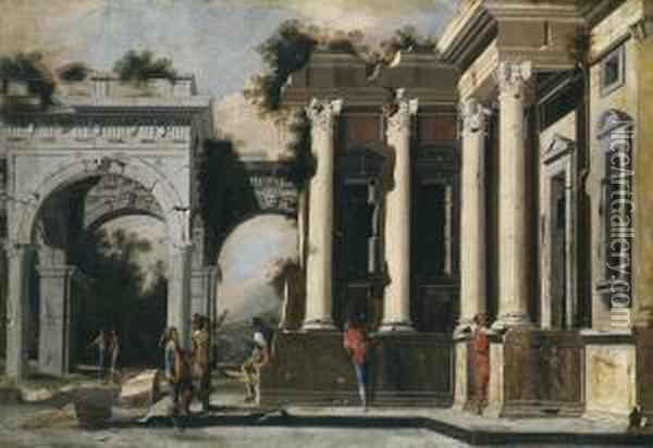 Ruins And Columns In Composite Order Witharch Oil Painting - Ascanio Luciani