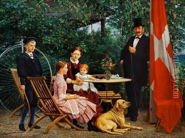 F. C. Lund: A Merchant Family At Their Country House North Of Copenhagen Oil Painting - Theodore F. Lund