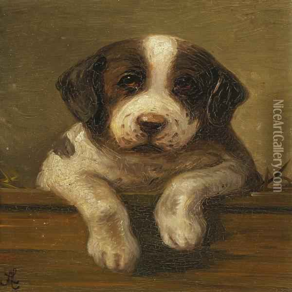 Puppy Oil Painting - Agnes Lunn