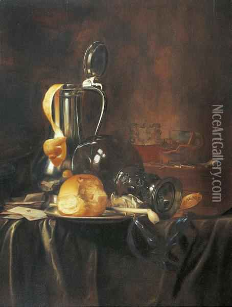 Still Life With Pewter Jug, Rummer, Bread Roll And Pipe On A Plate,with Cards And Pipe On A Draped Table Cloth. Oil Painting - Simon Luttichuys