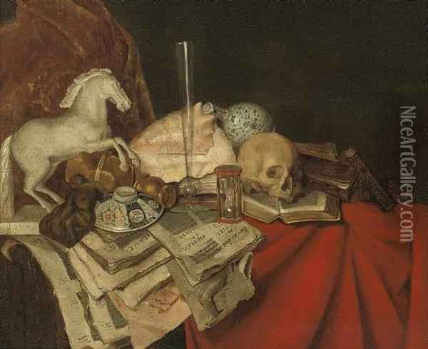 A Conch Shell, Books And Papers, A Porcelain Bowl, A Maquette Of A Horse, A Glass Vase And Skull On A Partly-draped Ledge Oil Painting - Simon Luttichuys