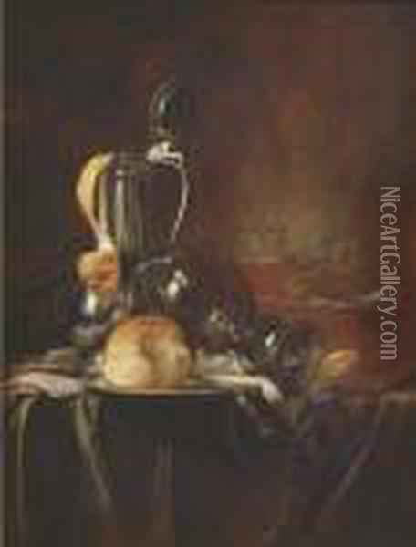 A Pewter Jug And Cover With A Peeled Lemon Oil Painting - Simon Luttichuys