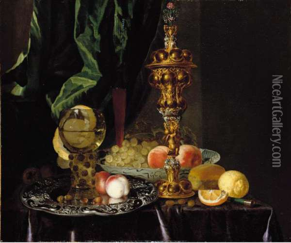 A Still Life Of Peaches, Grapes, A Lemon, A Segment Of Orange, Hazelnuts And A Bread Roll, Together With A Roemer, A Large Gold Oil Painting - Simon Luttichuys