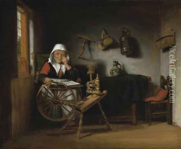 An Old Woman Reading By A Spinning Wheel Oil Painting - Nicolaes Maes