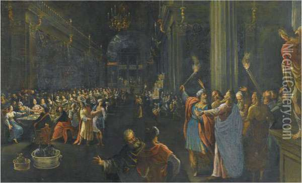 Belshazzar's Feast Oil Painting - Alessandro Maganza