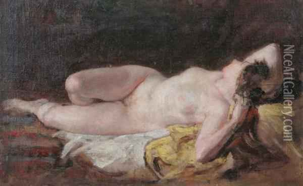Reclining Female Nude Oil Painting - Diogene Ulysse N. Maillart