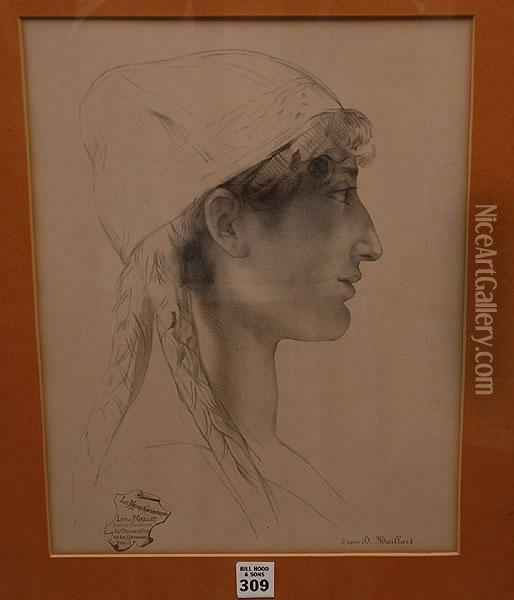 Face Of A Woman Oil Painting - Diogene Ulysse N. Maillart