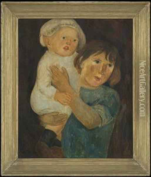Dry-nurse With A Child Oil Painting - Tadeusz Makowski