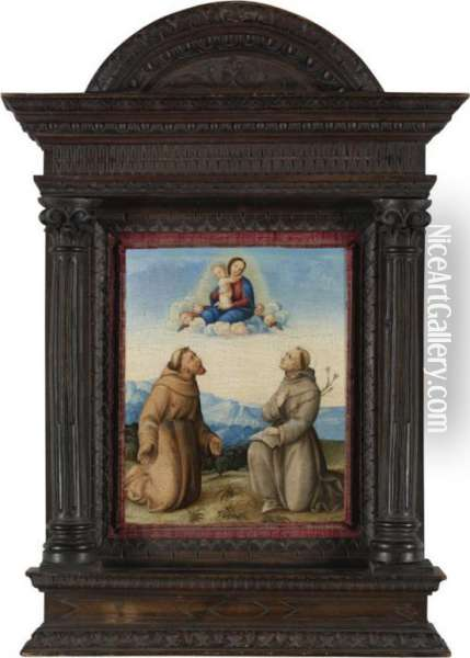 The Virgin Appearing To Saints Francis And Anthony Of Padua Oil Painting - Girolamo Marchesi da Cotignola