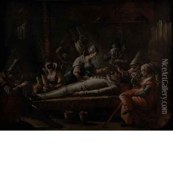 The Death Of Pulcinello Oil Painting - Marco Marcola