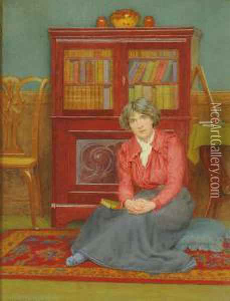 A Lady, Seated Small Full-length, With A Book On Her Lap In An Interior Oil Painting - George Marks