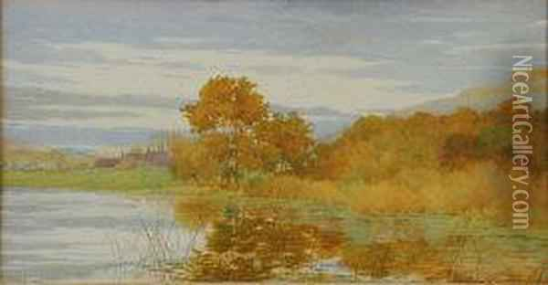 Autumnal Landscape With Tranquil Lake Oil Painting - George Marks