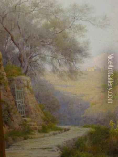The Sasso Valley In Bordinghera Oil Painting - George Marks