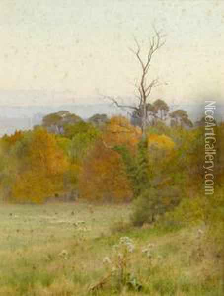 Autumn Gold Signed Oil Painting - George Marks