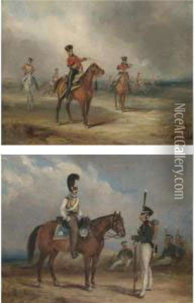 A Cavalry Skirmish; And A Cavalry Officer With An Infantry Officer Oil Painting - Henry Martens