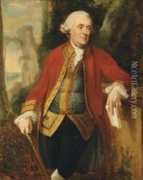 The Hon. John Skottowe, Governor Of St Helena, In Scarlet Coat Andgrey Embroidered Waistcoat, Holding A Cane And Letter Addressed'the Hon. John Skottowe Governor Of St. Helena', Standingthree-quarter Length In A Landscape, Shipping Off Jamestownbeyond Oil Painting - David Martin