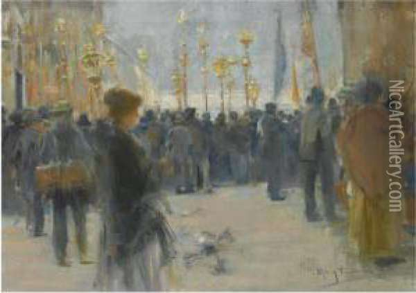 Farolillos En Paris (lantern Parade In Paris) Oil Painting - Arcadio Mas Y Fondevila