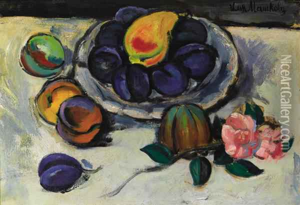 Still Life With Plums And Pink Flower Oil Painting - Ilya Ivanovich Mashkov