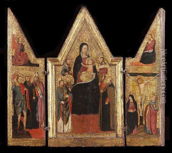 A Triptych: The Central Panel With The Madonna And Child With Saint Nicholas Of Bari, Saint Peter, A Monk Saint, Saint Anthony Abbot, Saint Andrew (?), And Saint John The Evangelist (?) In Attendance; The Wings With The Annunciation And The Crucifixion W Oil Painting - Master Of The Lazzaroni Madonna