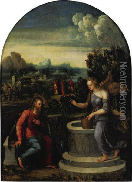 Christ And The Samaritan Woman At The Well Oil Painting - Master Of The Twelve Apostles