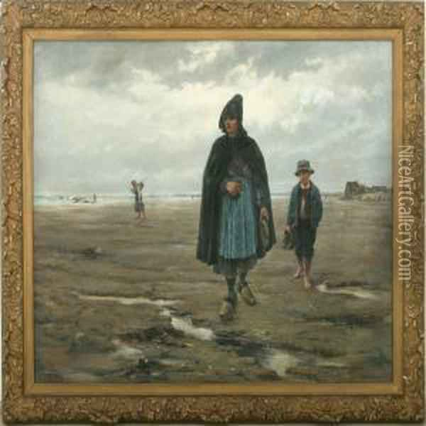 Woman And Boy On Thebeach Oil Painting - Paul Mathey
