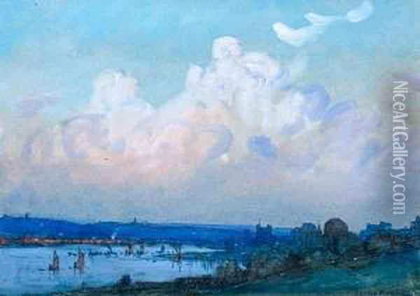 A River Estuary With Town And Shipping,possibly The Medway Oil Painting - Donald Maxwell