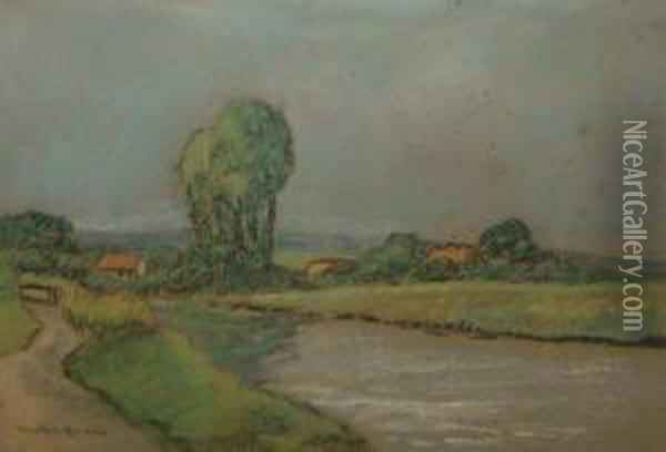 River Landscape With Cottages Oil Painting - Donald Maxwell