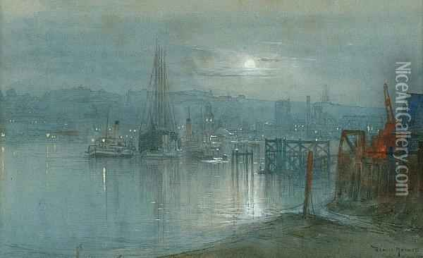 A Moonlit Harbour Oil Painting - Donald Maxwell