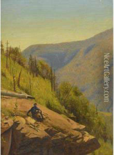 Summer In The Hills: Two Paintings Oil Painting - Jervis McEntee