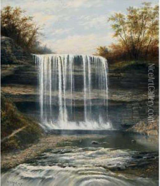 The Waterfall In Erindale, Ont. Oil Painting - Henry Nesbitt Mcevoy