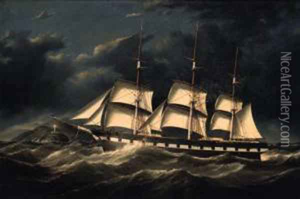 The Emily St. Pierre Approaching The Port Lynas Lighthouse Underreduced Sail Oil Painting - Duncan Mcfarlane