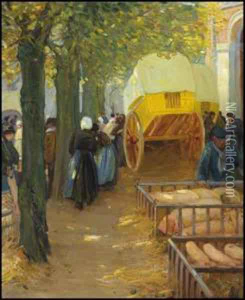 Market In Brittany Oil Painting - Helen Galloway Mcnicoll