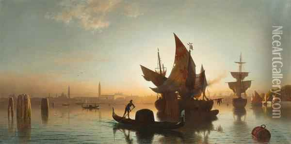 View Of Venice In The Evening Sunlight Oil Painting - Ludwig Meixner
